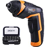 Tacklife SDP50DC Advanced Cordless Rechargeable Screwdriver LI2000 3.6-Volt with LED, 30pcs Drill Bits and 1 pcs Extension Bit,USB charging cable Included