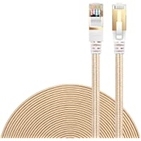 Ethernet Cable Cat 7 DanYee Flat High Speed Nylon LAN Network Patch Cable Gold Plated Plug STP Wires CAT 7 RJ45 Ethernet Cable 0.5M 1M 2M 3M 5M 8M 10M 15M 20M 30M(Gold-20m)