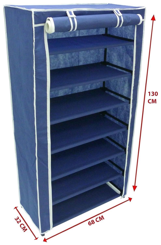 Armadio cabina guardaroba porta scarpe scarpiera in acciaio e tessuto tnt blu Savino Fiorenzo