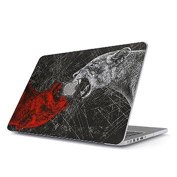 BURGA Funda para MacBook Air 13 3 Pulgadas, Modelo: A1466 / A1369 Salvaje León Animales Wild Savage Lion Dura Carcasa Rígida