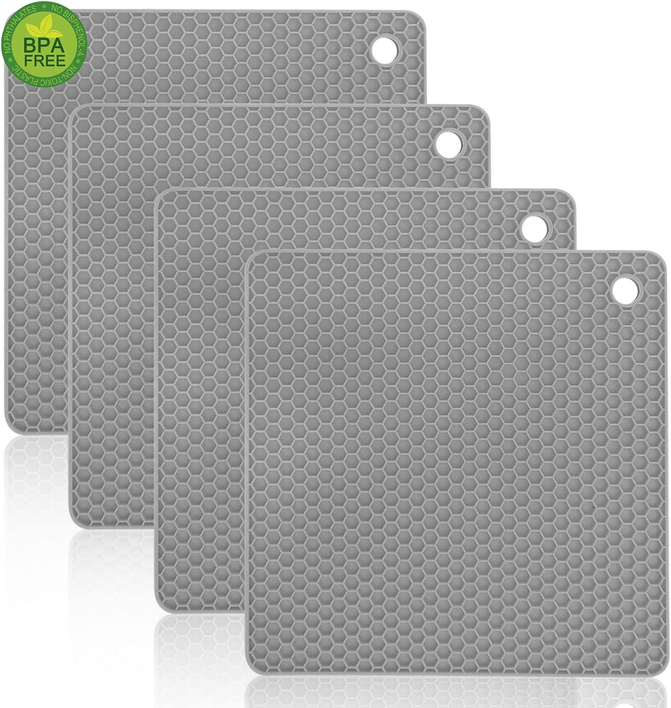 Walfos Silicone Trivet Mats - 4 Heat Resistant Pot Holders, Multipurpose Non-Slip Hot Pads for Kitchen Potholders, Hot Dishers, Jar Opener, Spoon Holder, Food Grade Silicone & BPA Free (Square)