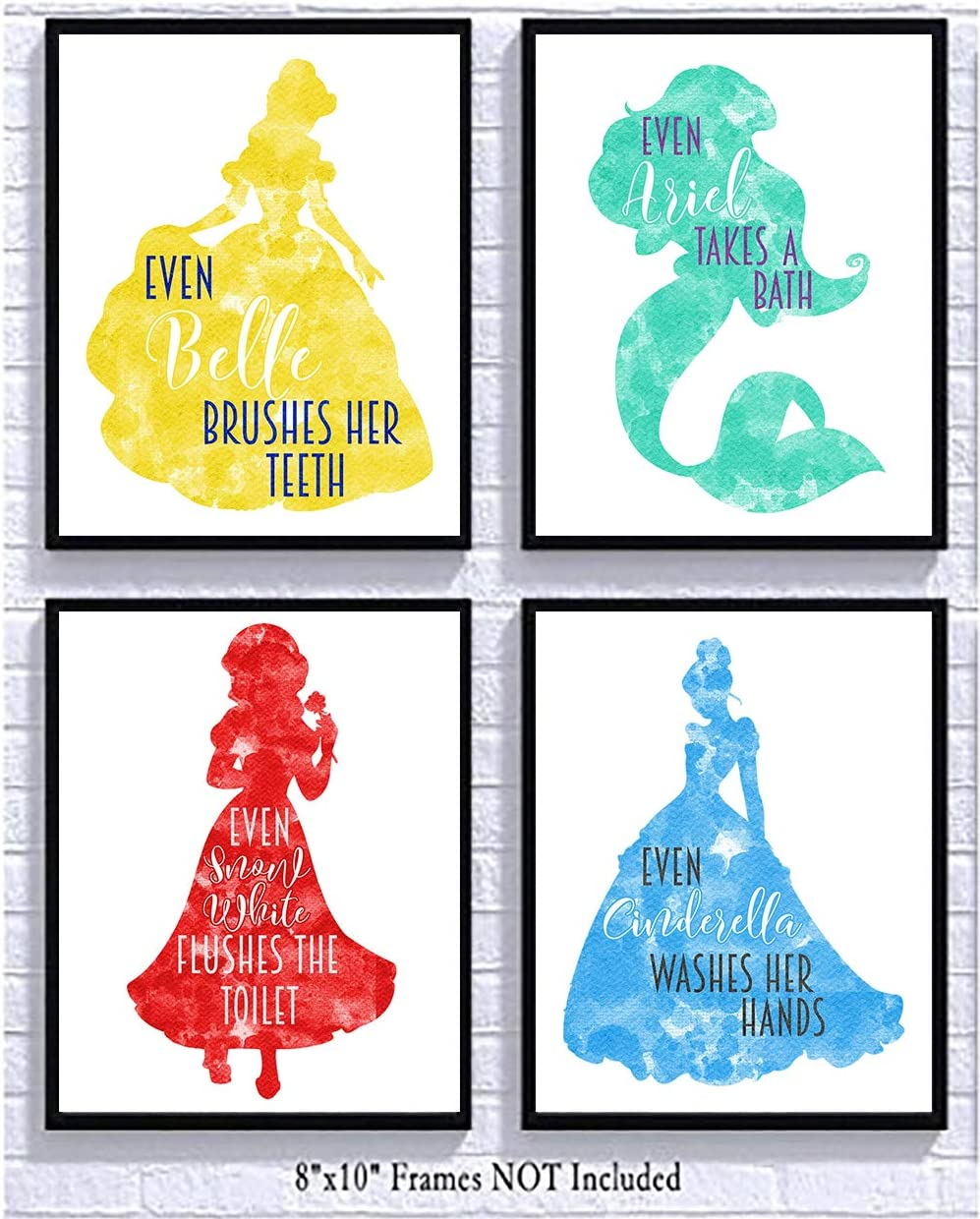 Silly Goose Gifts Princess Themed Bathroom Wall Art Decor (Set of Four)