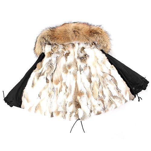 Parka XXL Cuello de auténtica piel de 100% Pelo Real Chaqueta Abrigo Negro Beige Nude corta