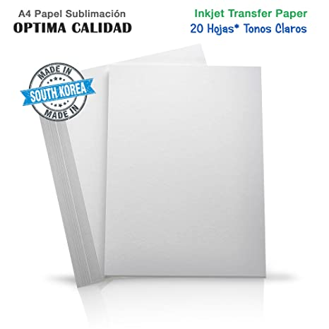 Papel sublimación transfer para hacer camisetas. Impresión en camiseta o tela clara. A4 x 20 hojas
