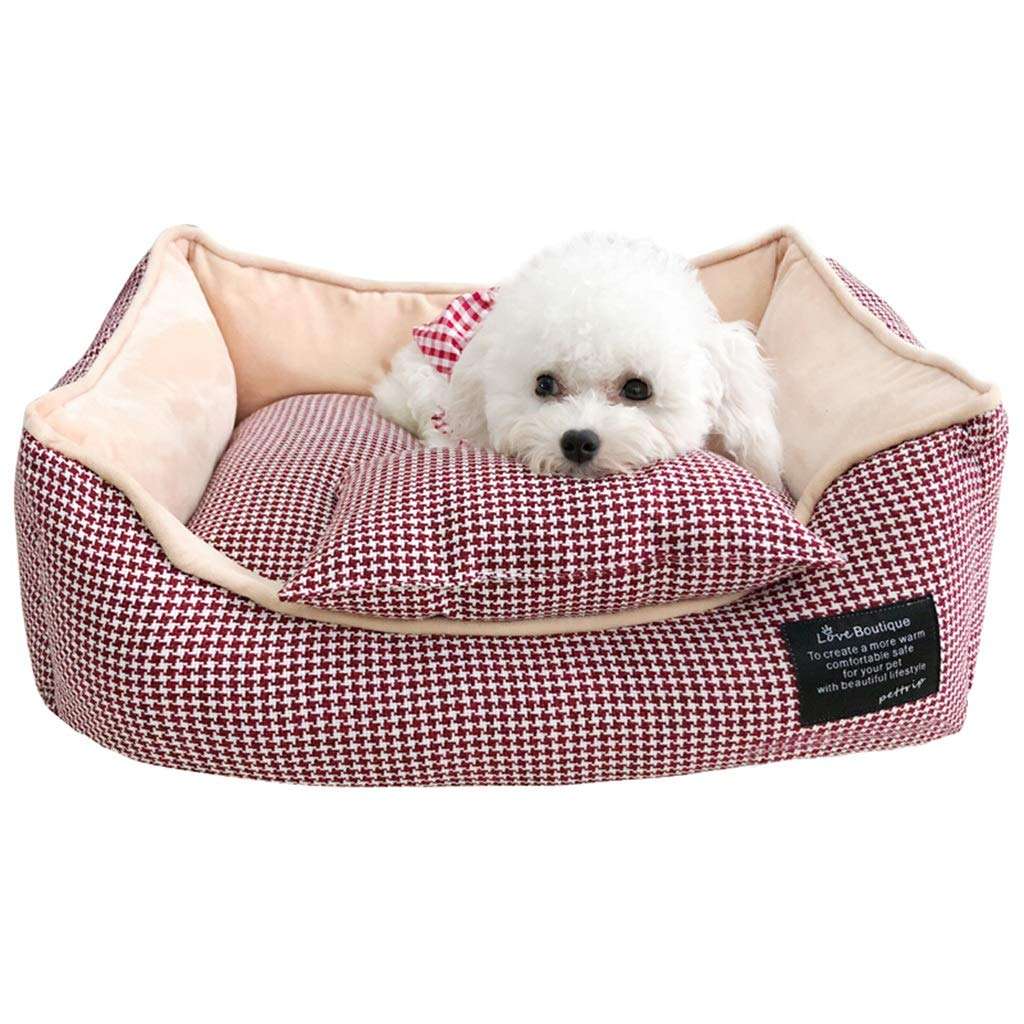 1  L 1  L DSADDSD Pet Bed Kennel Keep Warm Small Dog Washable Square Comfortable Pet Supplies (color   1 , Size   L)