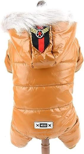 معطف شتوي للكلاب من سمولي-لكي-ستور، من الجلد الصناعي اللامع، مع بذلة منتفخة ومنتفخة - لون أسود، مقاس L Medium YP0336-Brown-M