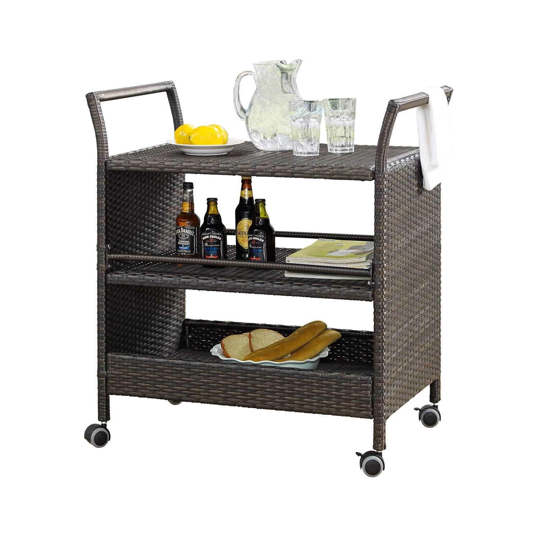 Rimba Patio Outdoor Wicker Serving Bar Carts