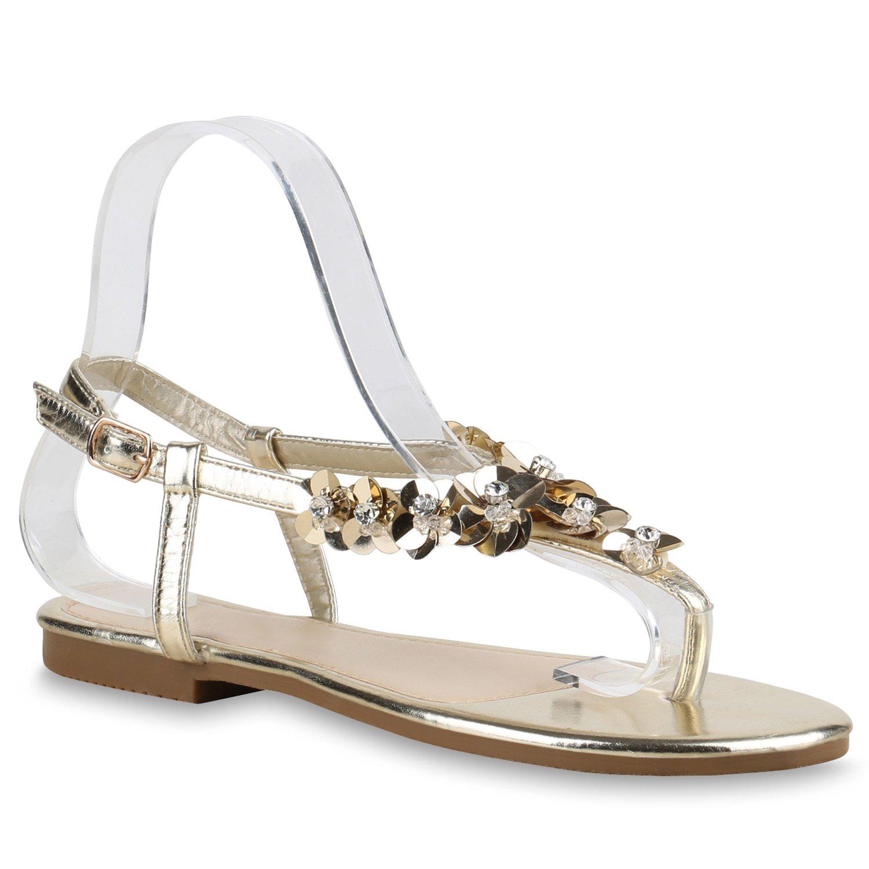 Stiefelparadies Damen Sandalen Zehentrenner mit Blockabsatz Flandell  38 EU|Gold Blumen