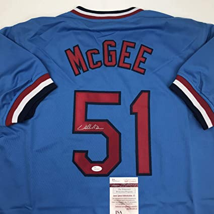 the best attitude 3bea1 dc9bf Autographed/Signed Willie McGee St. Louis Blue Baseball ...