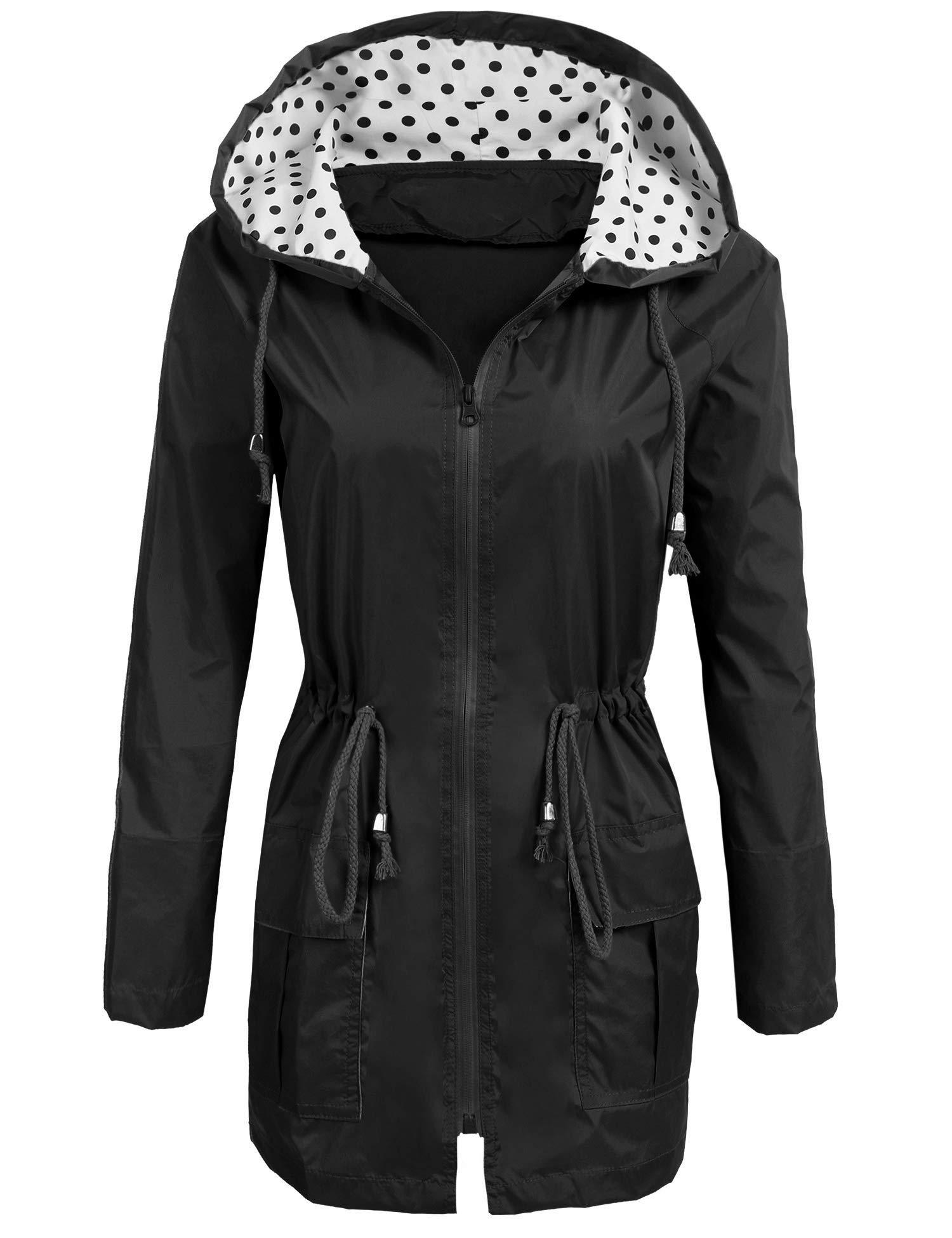 Soteer Rain Jacket Women's Waterproof Raincoat with Hood Lightweight Packable Ladies Outdoor Hooded Windbreaker