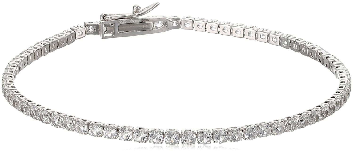 Sterling Silver Created White Sapphire Round Fashion Tennis Bracelet 7.5