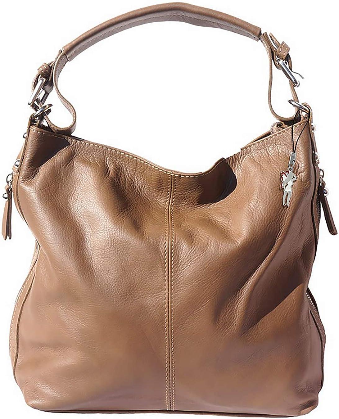 Schultertasche Hobo Bag schwarz Leder Damen Beuteltasche Made in Italy OTF101S