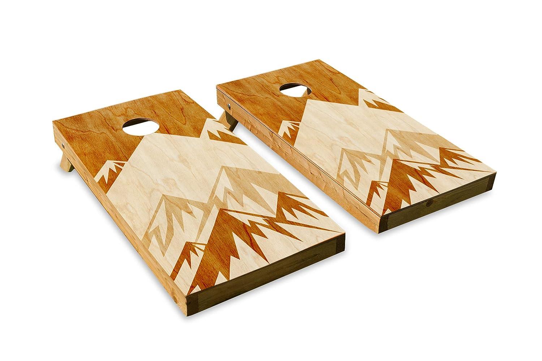 Admirable Mountains Design Cornhole Bean Bag Toss Board Set Made In Usa Wood 2X4 Tournament Size Includes 8 Corn Filled Bean Bags Inzonedesignstudio Interior Chair Design Inzonedesignstudiocom