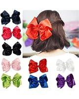 CN Large Hair Bows,8inch Grosgrain Ribbon Soild Color Huge Big Rhinestone Hair Bow For Girls Baby Pack of 9