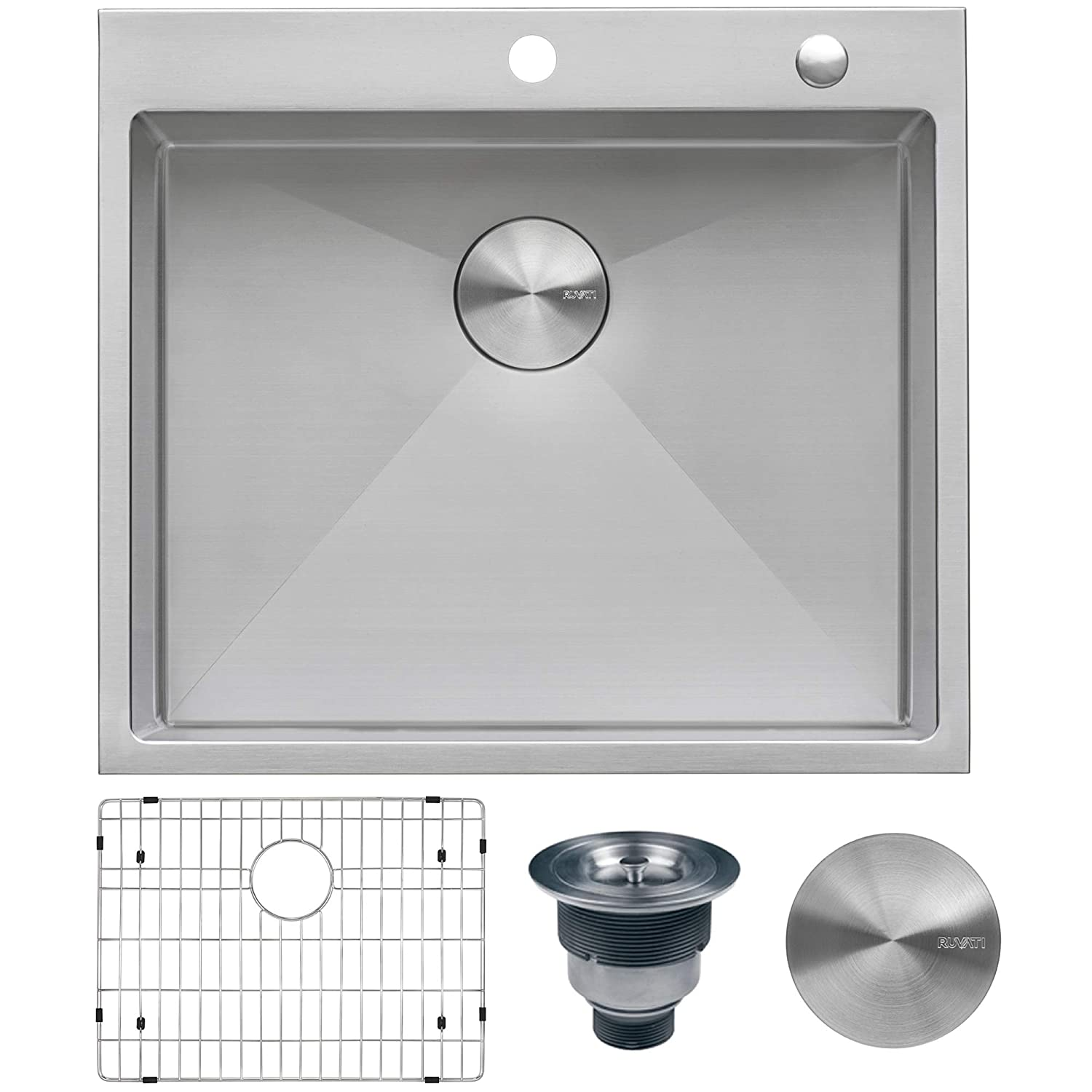 Ruvati 25-inch Drop-in Tight Radius Topmount 16 Gauge Stainless Steel Kitchen Sink Single Bowl - RVH8007