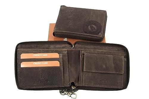 Cartera hombre LUIGI BENETTON marrón con cadena abertura zip A4752: Amazon.es: Zapatos y complementos