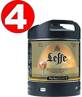4x Leffe Blonde cerveza de Bélgica Perfect Draft 6 litros barril 6,6% vol