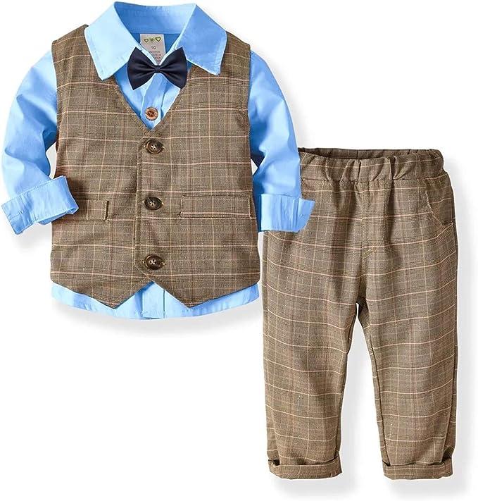 Little Boy Caballero Traje a Cuadros, Pantalones, Camisa y Corbata ...