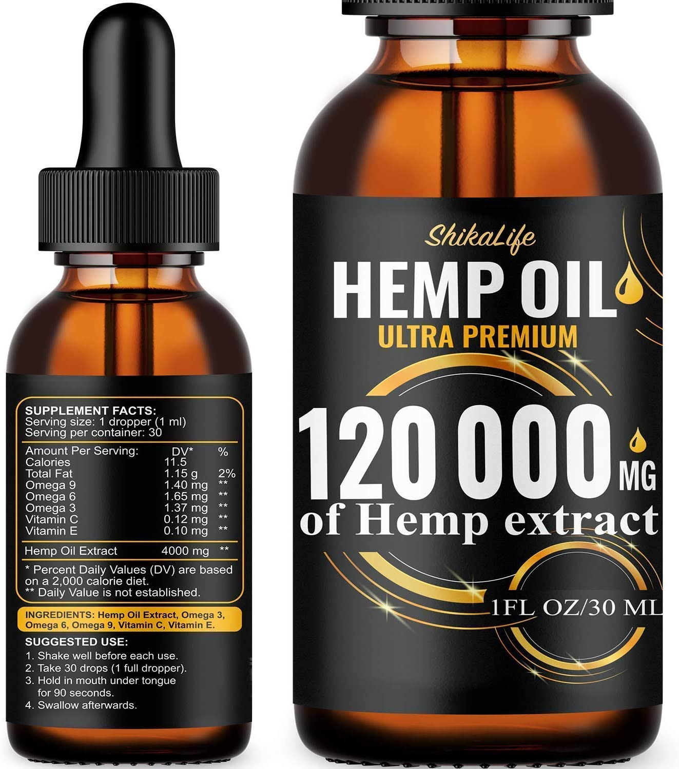 Amazon Com Hemp Oil Drops 120 000 Mg Co2 Extracted Made In Usa