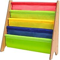 HOMFA Kids Book Rack Storage Sling Bookshelf Wooden Room Storage Rack Natural/Colourful