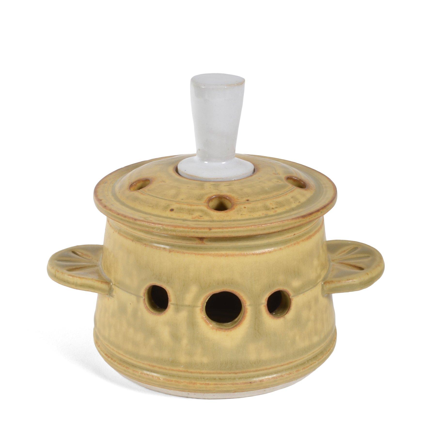 Dan Saultman Porcelain Pottery Garlic Keeper with Finial Lid, Wheat by Dan Saultman