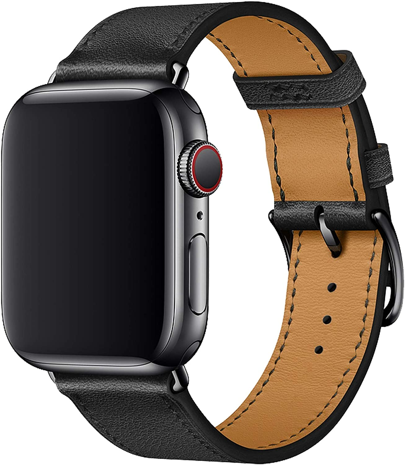 XCool Compatible con Correa Apple Watch 38mm 40mm, Cuero Negro para Hombres Mujer para iwatch SE Serie 6 Serie 5 Serie 4 Serie 3