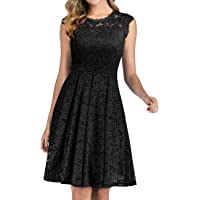Meetjen Women's Short Homecoming Dress Vintage Floral Lace Cocktail Swing Dress with Cap-Sleeves