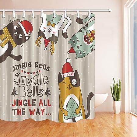 HiSoho Christmas Shower Curtains For Bathroom Cartoon Cat With Xmas Hat New Year