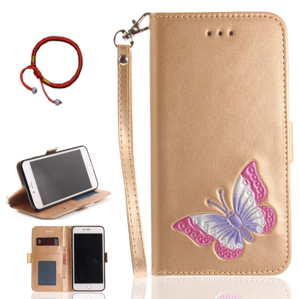 GOCDLJ Cell Phone Case for iPhone 7 / 8 Cell Phone Slim Protective Case Pattern Design Colorful Big Butterfly, iPhone 7 / 8 Ultrathin PU Leather Flip Cover, Anti Scratch Bumper Cover Wallet Fully Protective Build in Stand Function Folio Book Style with Ma