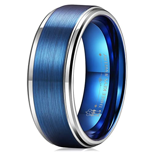 Three Keys 8mm Two Tone Tungsten Wedding Ring For Men Blue Brushed