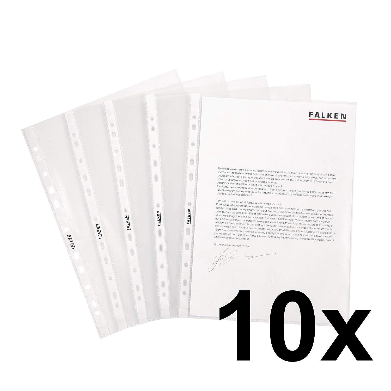 100 pezzi zigrinato Falken Buste trasparenti perforate standard A4 transparent genarbt