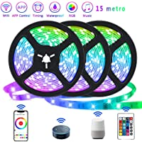 Smart LED Strip Lights Color Changing RGB Wifi APP Remote Control Rope Light Work with Alexa Google Waterproof Sync with…