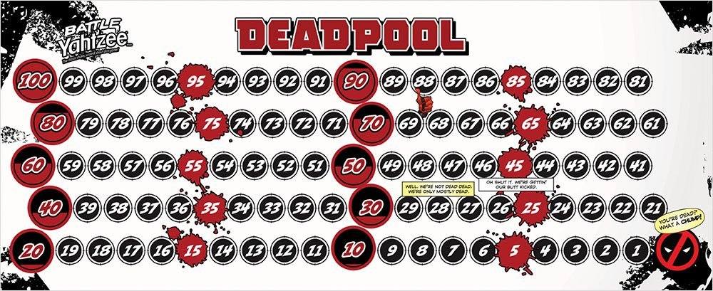BATTLE YAHTZEE: Marvel Deadpool Board Game by USAOPOLY (Image #3)