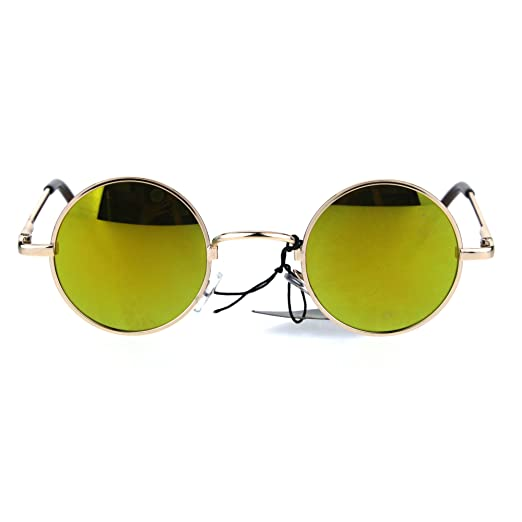 258295912 Colored Mirror Lens Snug Small Circle Round Hippie Shade Sunglasses Gold  Yellow
