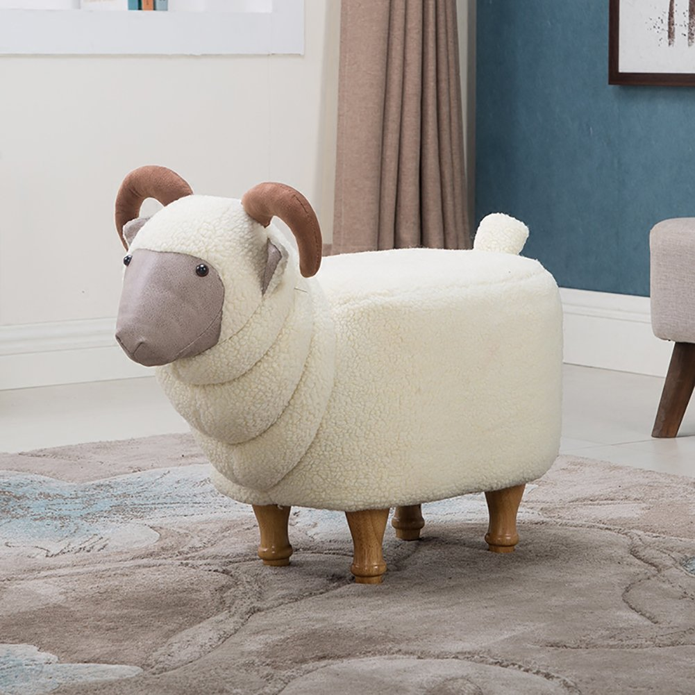 Footstool/ stool / creative, goat, changing shoes, solid wood, removable wash / designer furniture-white by Visual taste (Image #2)