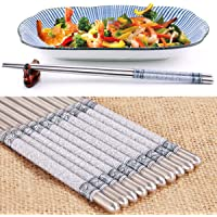 5 Pairs Stainless Steel Chopsticks Blue-and-White Porcelain Pattern Asian Dinner Cutlery Japanese Dinner Reusable…