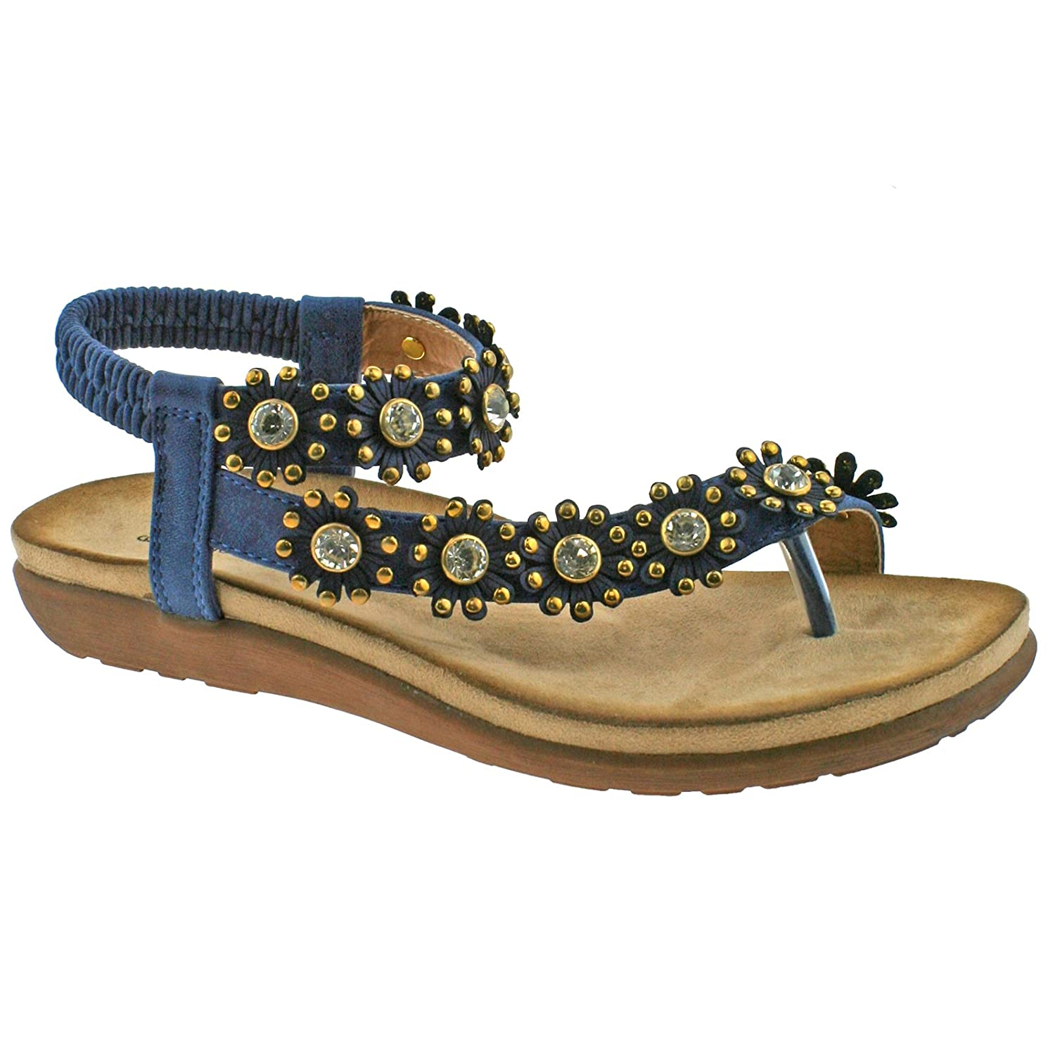 Lelli Kelly Ladies Boulevard Black Blue Diamante Flower Toe Post Elasticated Sandals L975 KD-Blue-UK 9 (EU 42)