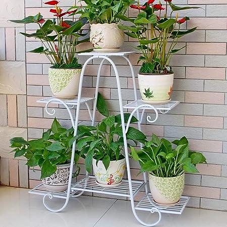 Moutik Corner Metal Flower Holder Racks 4 Tier Shelves for Indoor Outdoor Plant