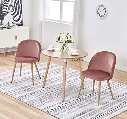 Gizza Vintage Wood Dining Table And Accent Velvet Chairs Armless Cushion Seat Metal Wood Legs Living Room Kitchen Furniture Set 80cm 75cm Pink