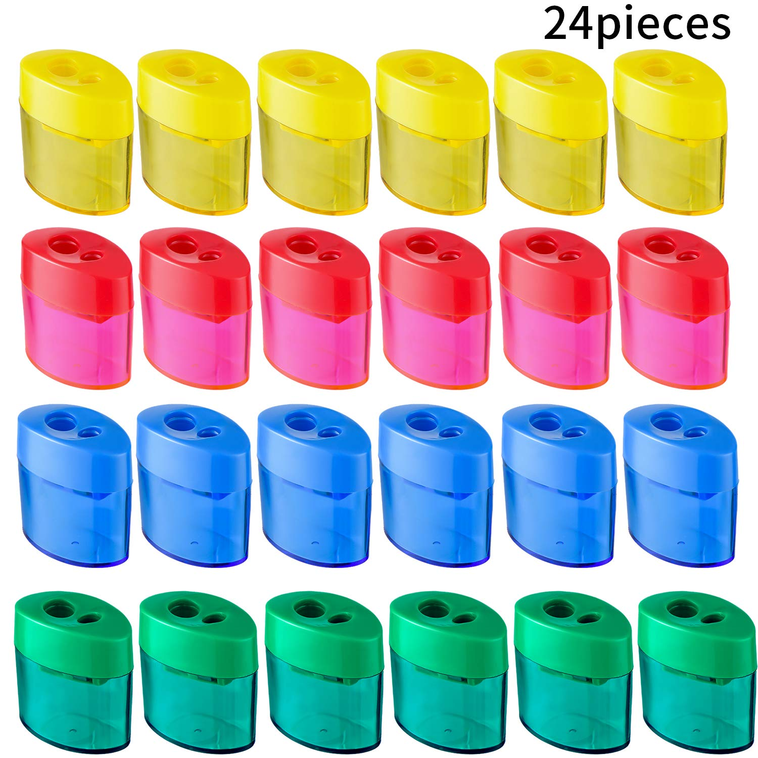 Double Hole Oval Shaped Pencil Sharpener with Cover and Receptacle Manual Pencil Sharpener Hand Pencil Sharpener for Office Home Supply (24 Pieces)