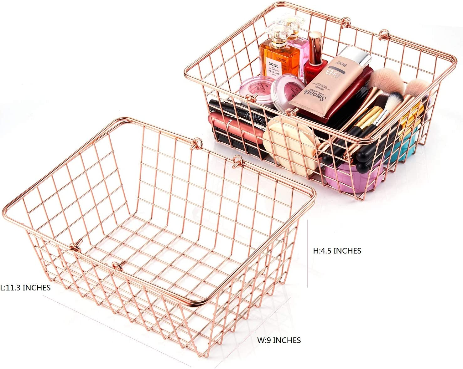 L 29*W 23* H 11 cm SINARDO 2 Pack Large Size Rose Gold Wire Storage Baskets with Handles Organizer Bin Baskets for Kitchen Cabinets Freezer Bedroom Bathroom Shopping Picnic