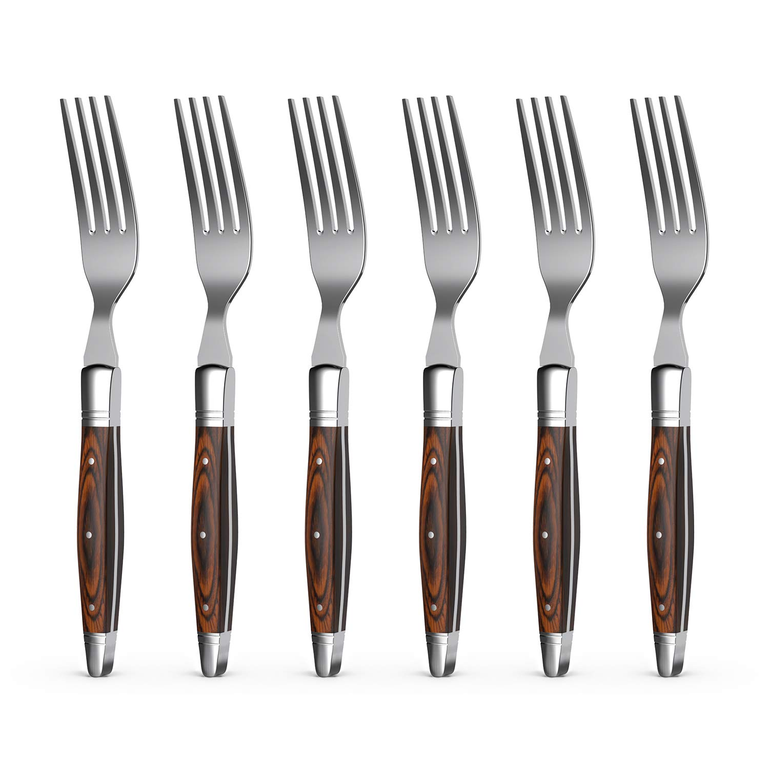 Uniharpa Laguiole Dinner Forks Flatware Steak Sets Stainless Steel Service for 6 With Pakkawood Handle and Gift Box