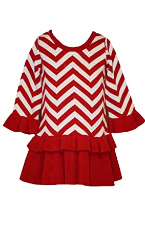 4be16ee29 Amazon.com  Bonnie Jean Holiday Christmas Chevron Sweater Party Red ...
