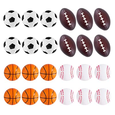 Super Z Outlet Mini Foam Sports Balls 24 Pack Balls for Kids Adults Mini Baseball Football Basketball Soccer Stress Ball Bulk Toy Little Big Game Party Decoration Balls Small Foam Relaxable Balls: Toys & Games