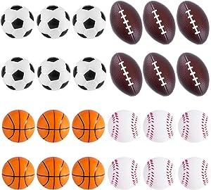 Super Z Outlet Mini Foam Sports Balls 24 Pack Balls for Kids Adults Mini Baseball Football Basketball Soccer Stress Ball Bulk Toy Little Big Game Party Decoration Balls Small Foam Relaxable Balls
