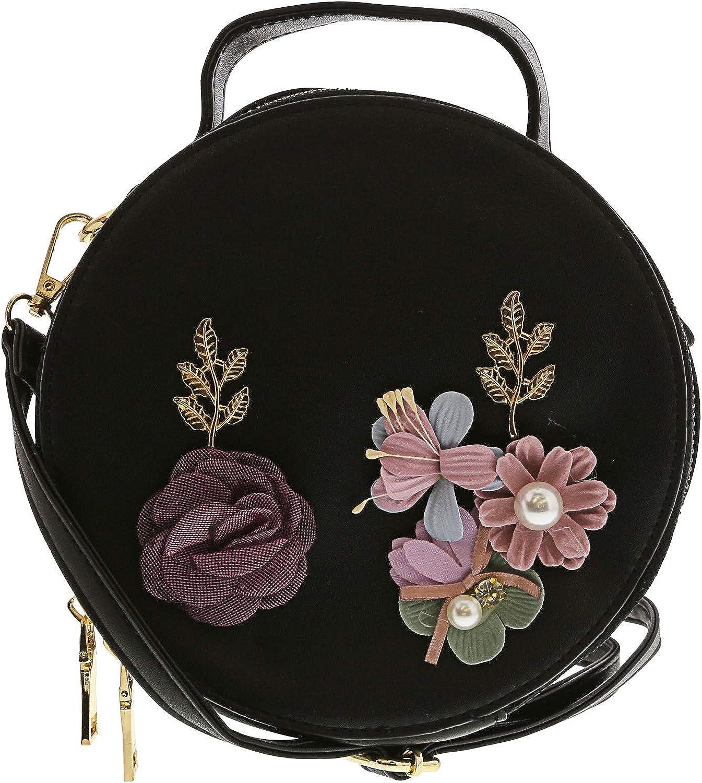 Women handbag Soft PU Leather Fashion Rivet bag Handbag with Shoulder Strap Crossbody Bag Blooming Flowers And Birds