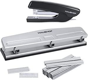HAUSHOF Desktop Stapler and 3-Hole Punch Set with 5000-Piece Staples and Staple Remover, Office Supplies Compatible with 26/6 and 24/6 Staples