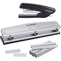 HAUSHOF DESKTOP STAPLER and 3-HOLE PUNCH Set with 5000 Count Staples and Staples Remover, Office Supplies Compatible…