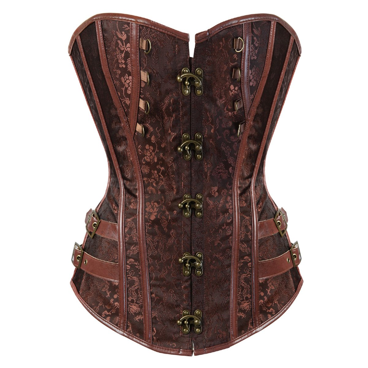 Steampunk Plus Size Clothing & Costumes Kranchungel Womens Punk Rock Faux Leather Corset Retro Goth Waist Cincher Basque Bustier $48.69 AT vintagedancer.com