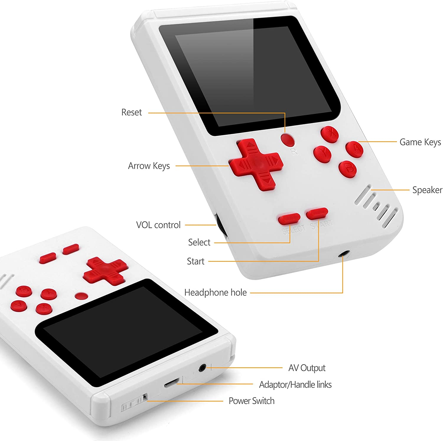 Handheld Game Console,Retro Portable Game Console with 400 Classic FC gamesgame 3-inch HD screenbuilt-in 800mA Rechargeable Battery,Console That Supports TV Connection,Christmas
